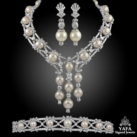 Mouawad Diamond Pearl Necklace Suite Yafa Signed Jewels
