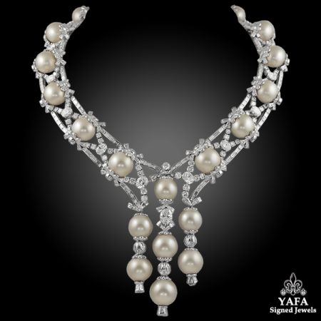 MOUAWAD Diamond Pearl Necklace Parure Suite
