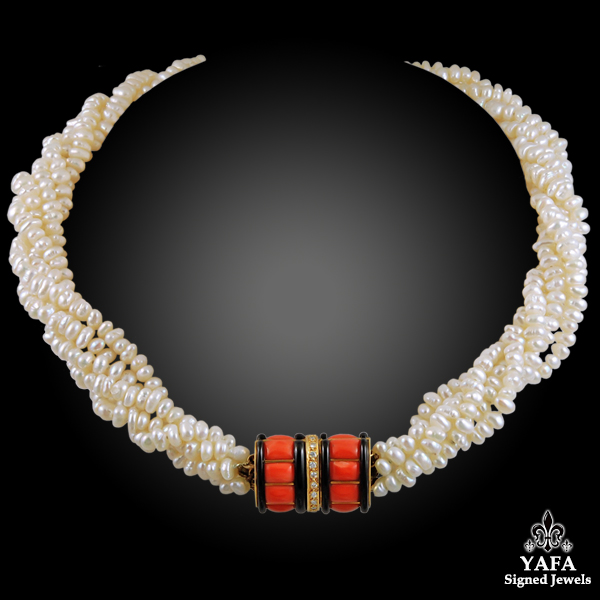 CARTIER Coral, Onyx, Pearl Necklace