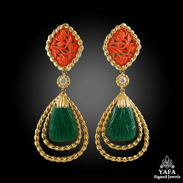 VAN CLEEF & ARPELS Carved Coral, Green Onyx Necklace & Ear Clips
