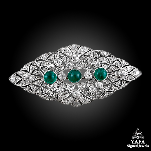 Platinum Diamond, Emerald Brooch