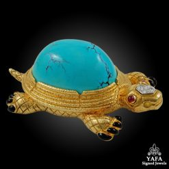 DAVID WEBB Two Tone Diamond, Turquoise, Ruby Turtle Brooch