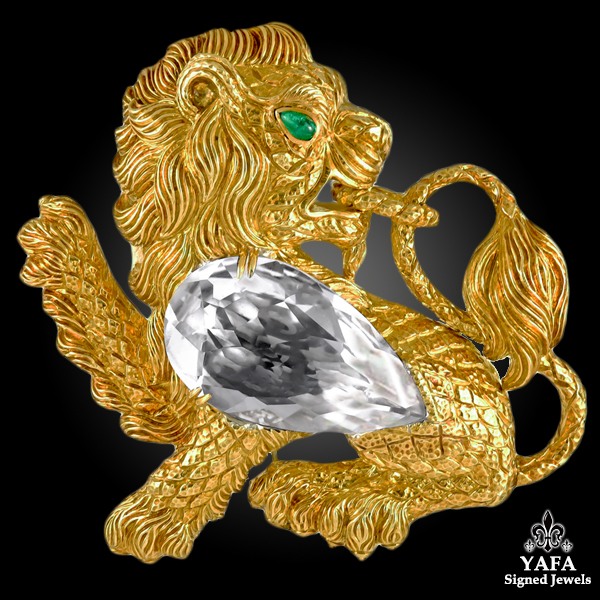 DAVID WEBB Rock Crystal, Emerald Lion Brooch