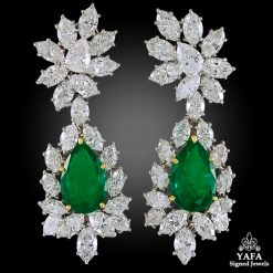 HARRY WINSTON Diamond, Pear-Shaped Emerald Ear Clips