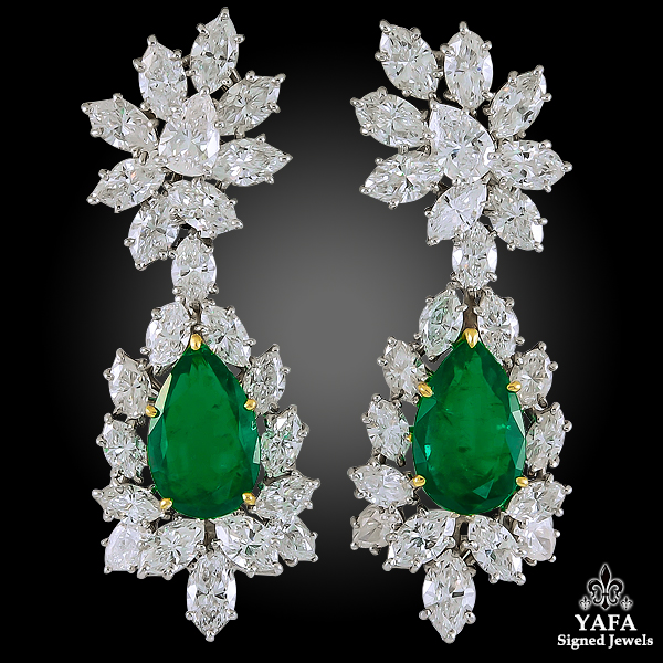 HARRY WINSTON Diamond, Pear-Shaped Emerald Earrings