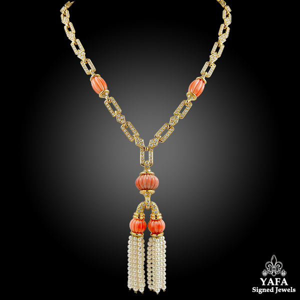 Diamond, Coral, Pearl Tassel Gold Necklace