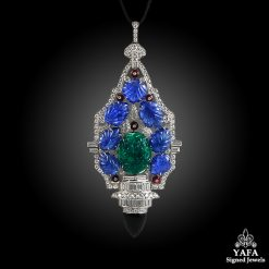 Platinum Diamond, Carved Sapphire, Emerald Necklace