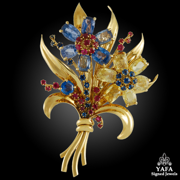 18k Gold Multi Color Sapphire Flower Brooch