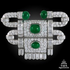 VAN CLEEF & ARPELS Diamond, Cabochon Emerald Brooch