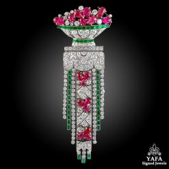 ART DECO Diamond, Emerald, Ruby Brooch