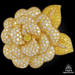 VAN CLEEF & ARPELS White, Yellow Diamond Flower Brooch