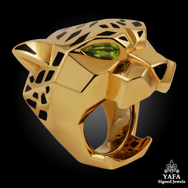 CARTIER Black Enamel, Peridot, Onyx Panther Head Ring
