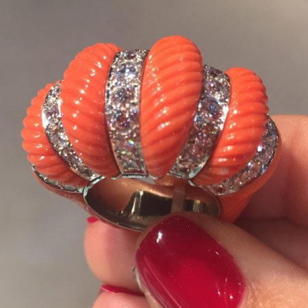 CARTIER Diamond, Coral Bombe Ring