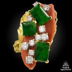 CARTIER Diamond, Jade, Coral Ring