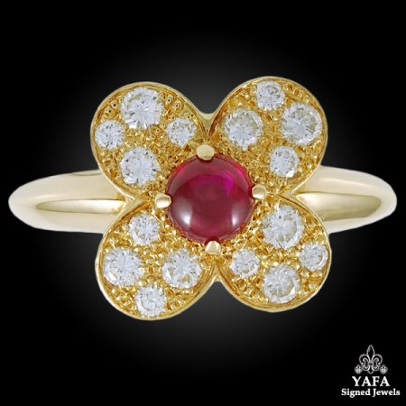 VAN CLEEF & ARPELS Diamond, Cabochon Ruby Ring
