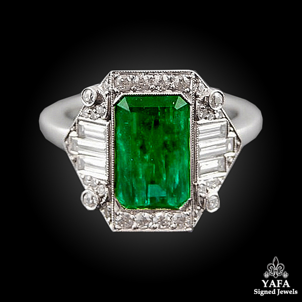 Platinum Diamond & Emerald Ring - 2.16cts.