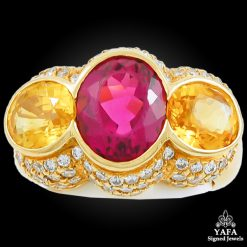 18k Gold Diamond & Multi Color Sapphire Ring