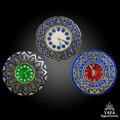 18k Gold Diamond, Lapis Lazuli 3 Pieces Clock