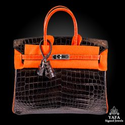 HERMES 25cm Black & Orange Birkin Bag