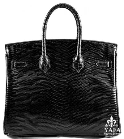 HERMES 25cm Black Nilo Lizard Birkin Bag