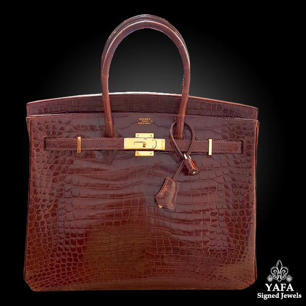 HERMES 35cm Bourgogne Alligator Birkin Bag