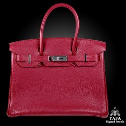HERMES 30cm Red Leather Birkin Bag