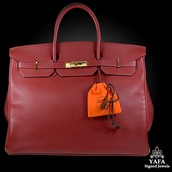 HERMES 40cm Red Leather Birkin Bag