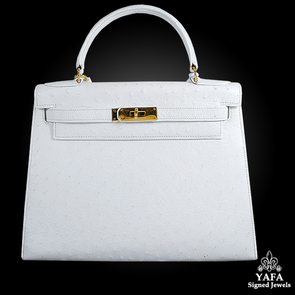 HERMES 30cm White Ostrich Kelly Bag