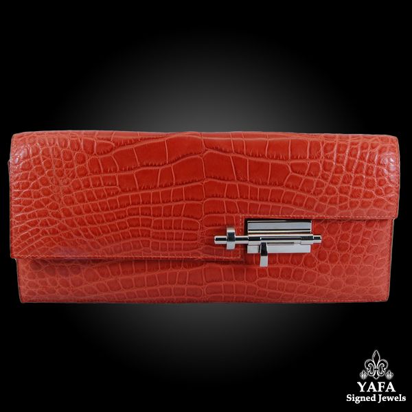 HERMES Verrou Orange Matte Alligator Clutch Bag