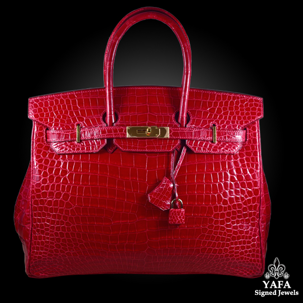 HERMES 35cm Red Crocodile Birkin Bag