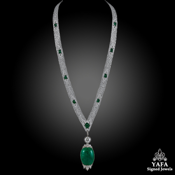 Art Deco Platinum Diamond & Cabochon Emerald Necklace