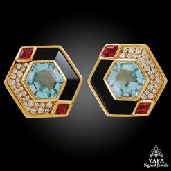 MARINA B. 18k Gold Diamond Gem-set Earrings