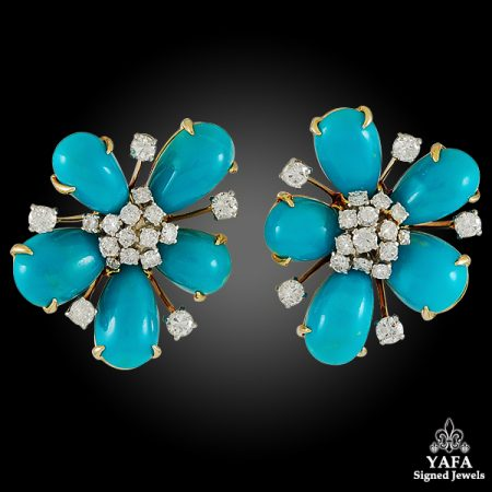DAVID WEBB Diamond, Cabochon Turquoise Ear Clips