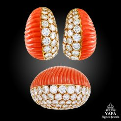 CARTIER Diamond & Coral Ear Clips & Ring