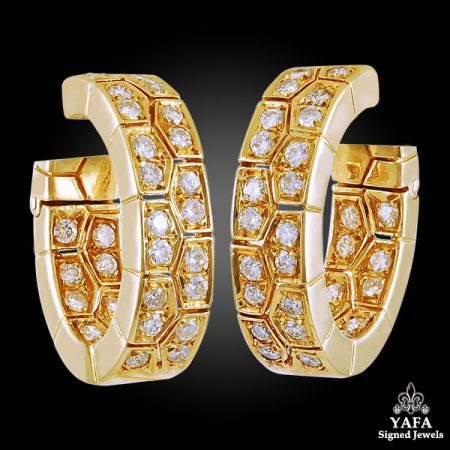 1970's VAN CLEEF & ARPELS Diamond Hoop Ear Clips