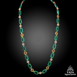 VAN CLEEF & ARPELS Diamond Chrysoprase Link Necklace