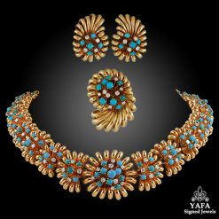 18k Gold Diamond, Turquoise Necklace Suite