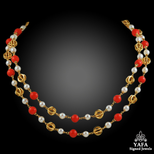 CARTIER Pearl & Coral Beads Long Necklace