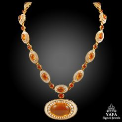 18k Gold Cabochon Citrine, Diamond & Rock Crystal Sautoir Necklace/Bracelet