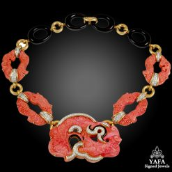 DAVID WEBB Two Tone Carved Coral, Diamond & Black Enamel Necklace