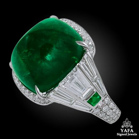 Platinum Diamond & Sugar Loaf Emerald Ring