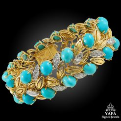 CARTIER Turquoise, Diamond Gold Bracelet