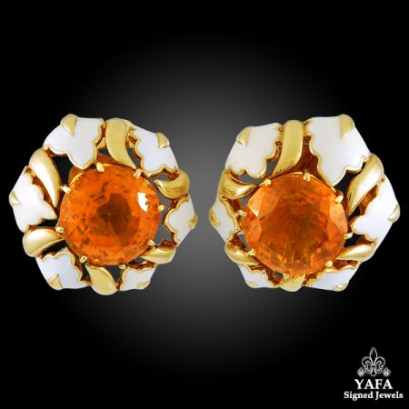 DAVID WEBB Citrine, White Enamel Ear Clips & Ring