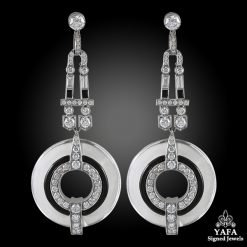 Platinum Diamond, Crystal, Onyx Dangling Earrings