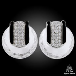DAVID WEBB Diamond, Faceted Crystal Hoop Ear Clips