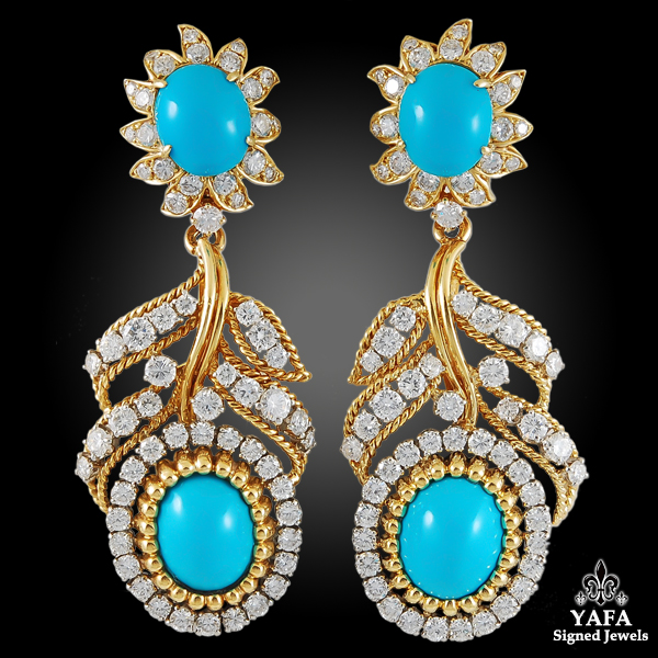 VAN CLEEF & ARPELS Diamond, Cabochon Turquoise Ear Clips