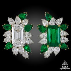 CARTIER Two Tone Emerald-Cut Diamond, Emerald Ear Clips