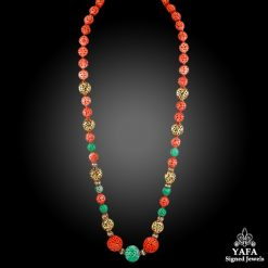 VAN CLEEF & ARPELS Diamond, Carved Coral, Jade Bead Necklace