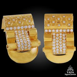 VAN CLEEF & ARPELS Diamond Ludo Gold Clips