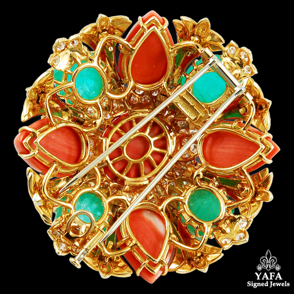 David Webb White Enamel, Carved Emerald, Coral & Diamond Brooch